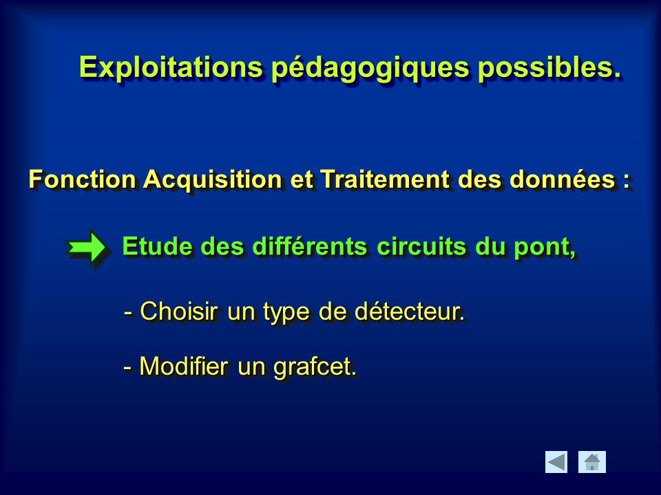 Etude des différents circuits du pont, Fonction Acquisition et Traitement des données : - Choisir un type de détecteur.