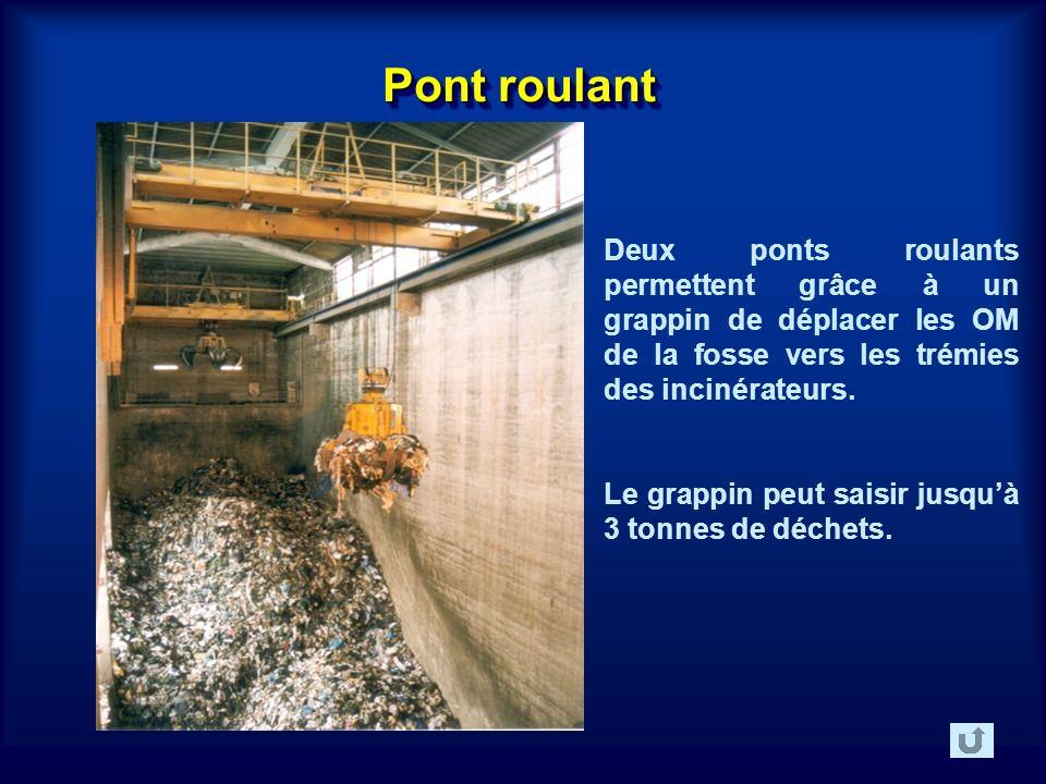 Pont roulant Deux ponts roulants permettent grâce à un grappin de déplacer les OM de la fosse vers les trémies des incinérateurs.