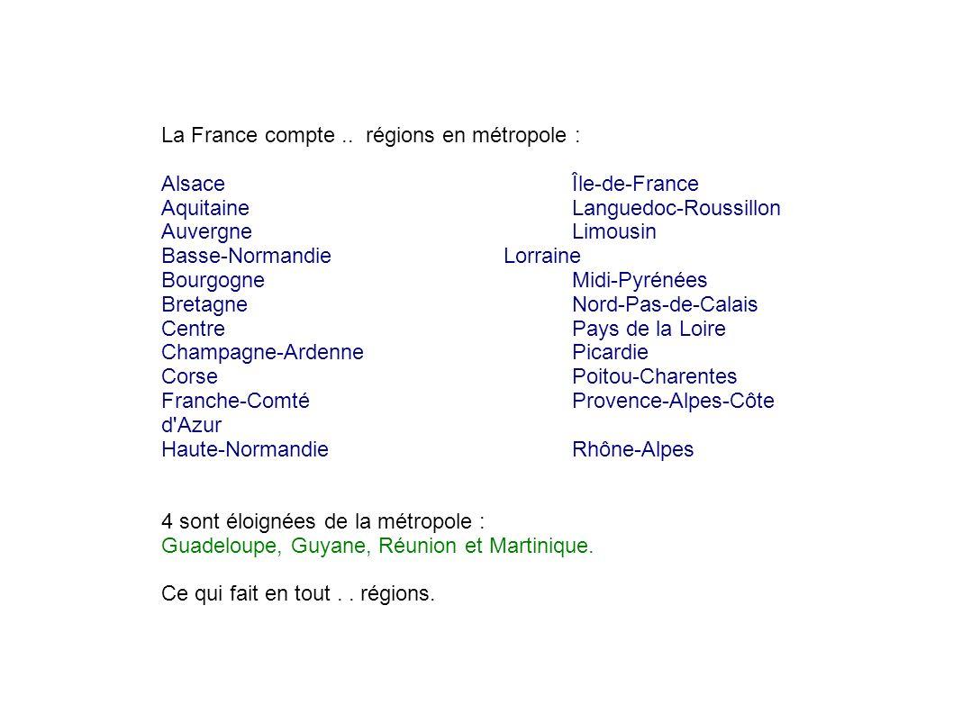 Place les régions Complète leurs noms.