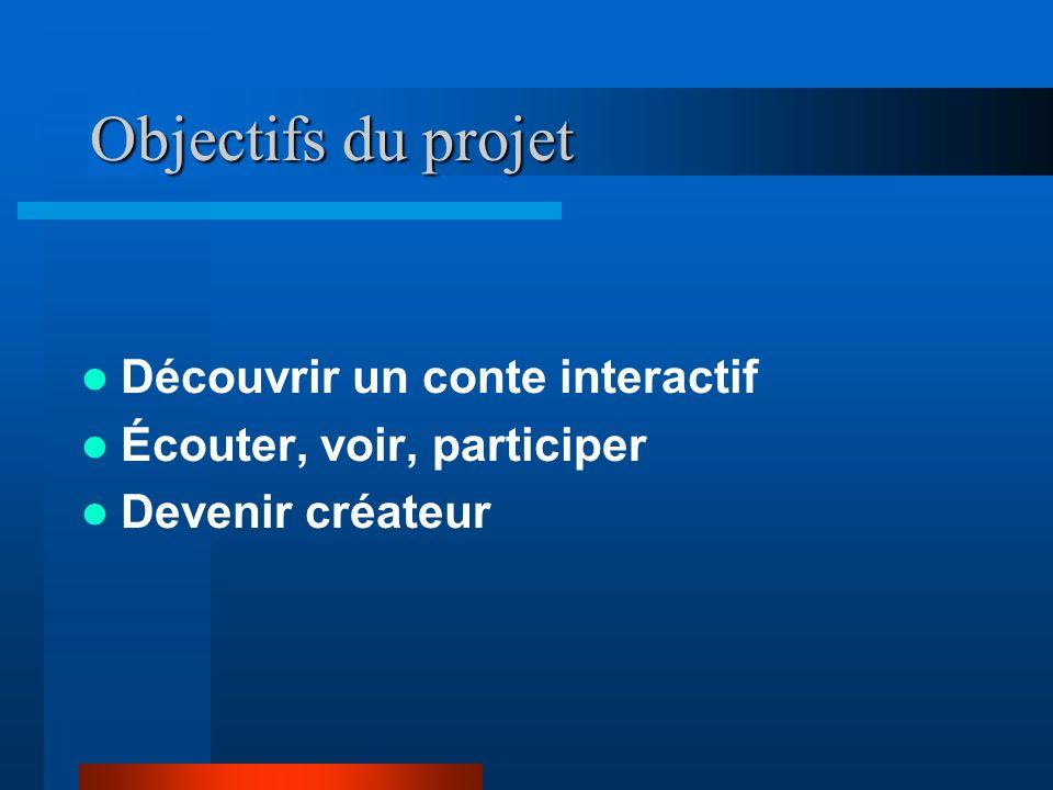 Objectifs du projet Découvrir un conte interactif Écouter, voir, participer Devenir créateur