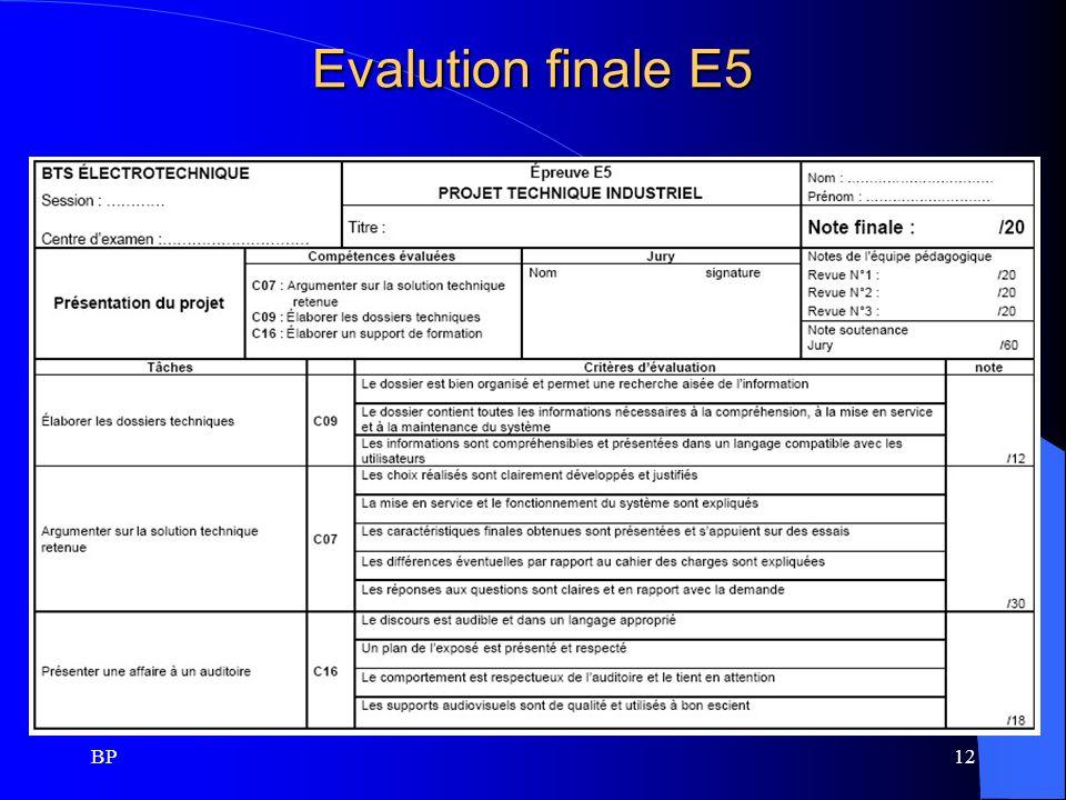 BP12 Evalution finale E5