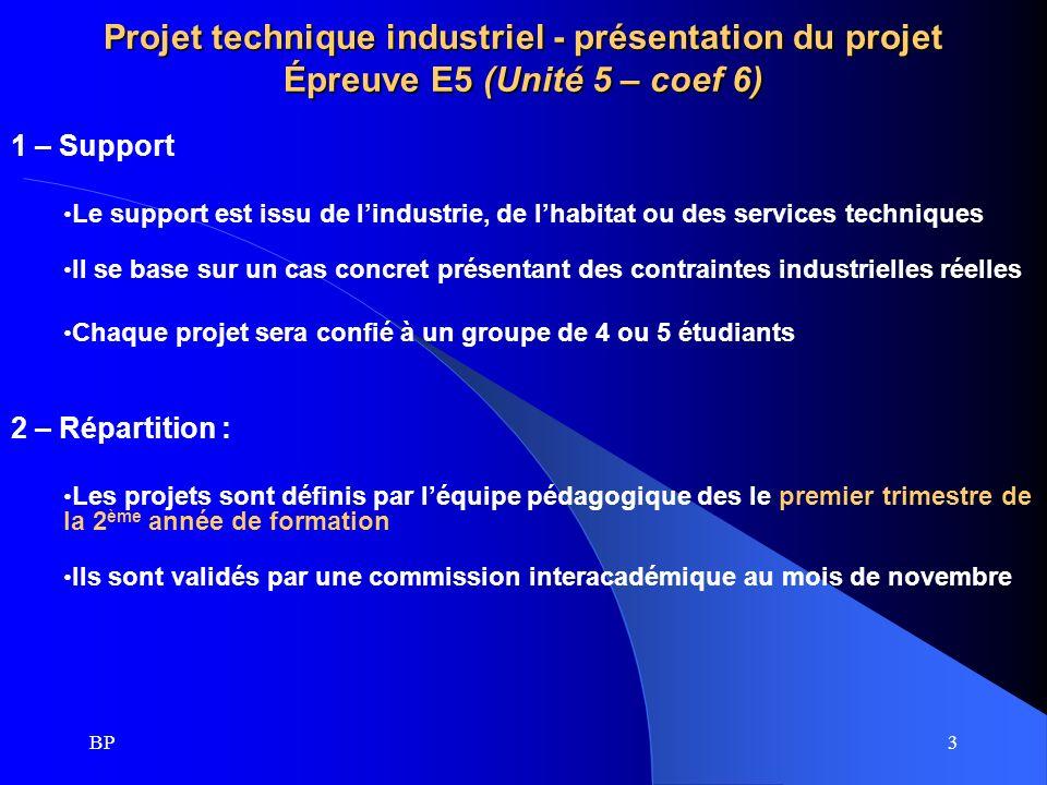 3 Projet technique industriel - présentation du projet Épreuve E5 (Unité 5 – coef 6) 1 – Support Le support est issu de lindustrie, de lhabitat ou des