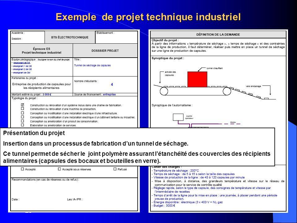 BP4 Exemple de projet technique industriel Présentation du projet Insertion dans un processus de fabrication dun tunnel de séchage. Ce tunnel permet d
