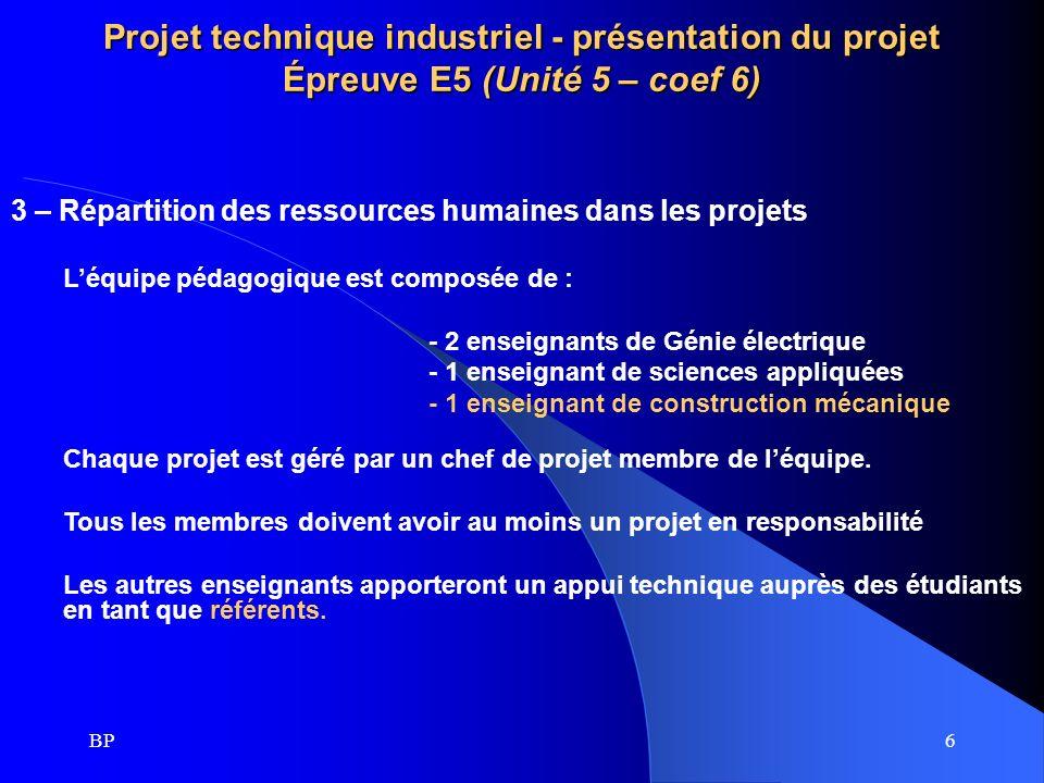 BP6 Projet technique industriel - présentation du projet Épreuve E5 (Unité 5 – coef 6) 3 – Répartition des ressources humaines dans les projets Léquip