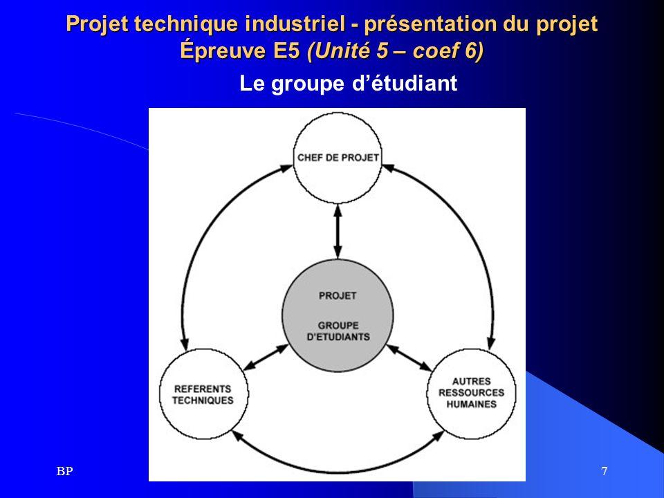 BP8 Projet technique industrie - présentation du projet Épreuve E5 (Unité 5 – coef 6) 4 – Évaluation du projet : Le projet est décomposé en quatre phases faisant chacune lobjet dévaluation