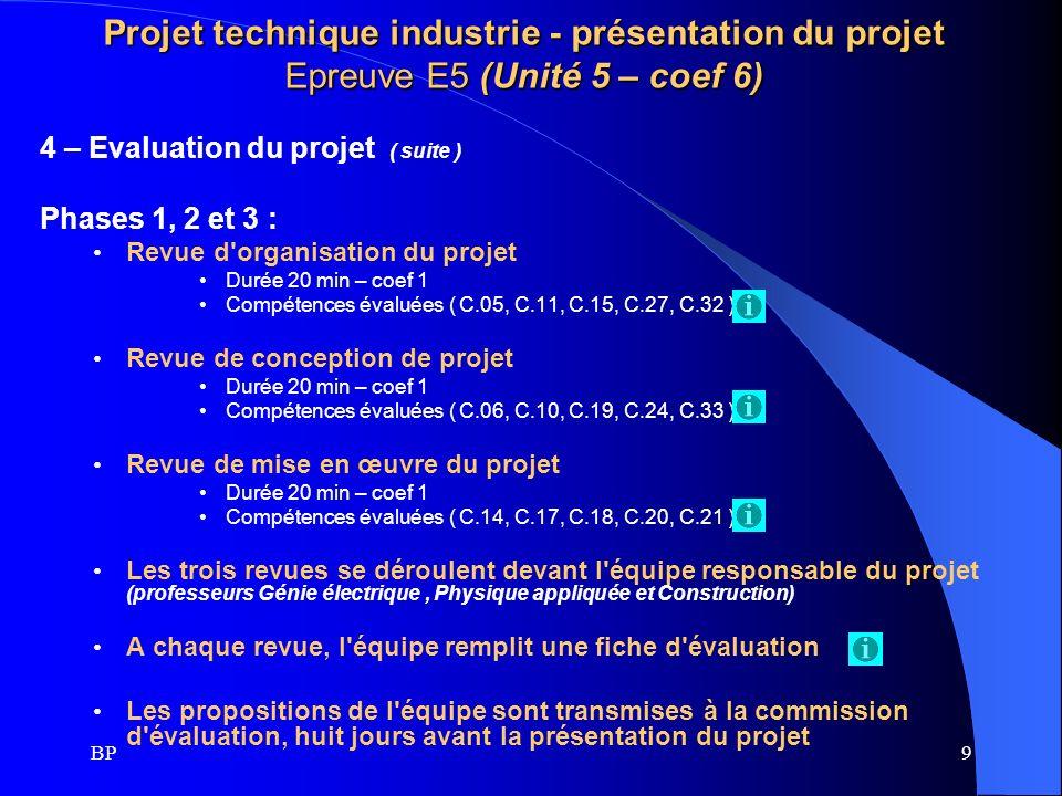 BP9 Projet technique industrie - présentation du projet Epreuve E5 (Unité 5 – coef 6) 4 – Evaluation du projet ( suite ) Phases 1, 2 et 3 : Revue d'or