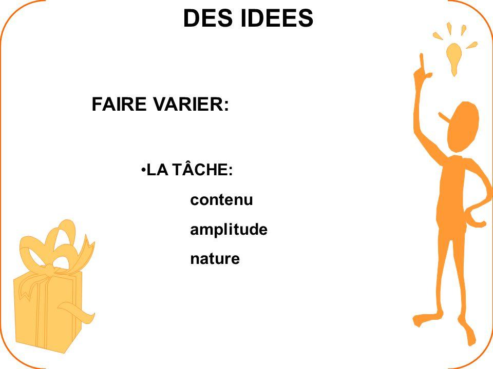 DES IDEES FAIRE VARIER: LA TÂCHE: contenu amplitude nature