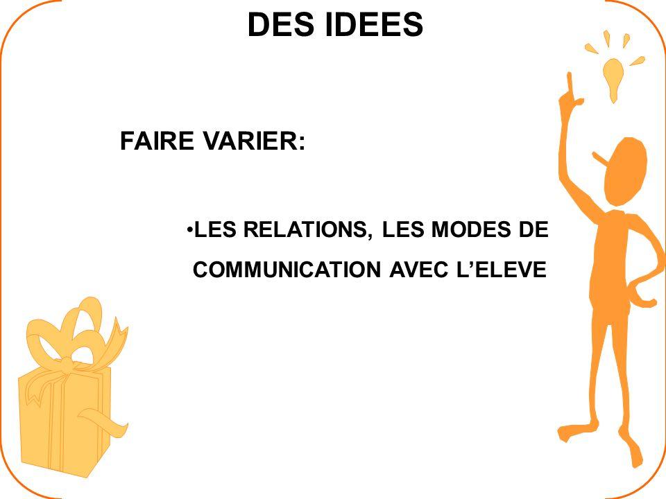 DES IDEES FAIRE VARIER: LES RELATIONS, LES MODES DE COMMUNICATION AVEC LELEVE