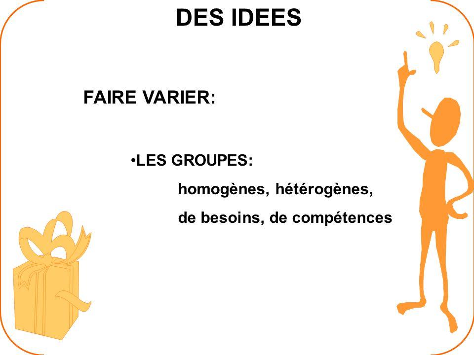 DES IDEES FAIRE VARIER: LES GROUPES: homogènes, hétérogènes, de besoins, de compétences