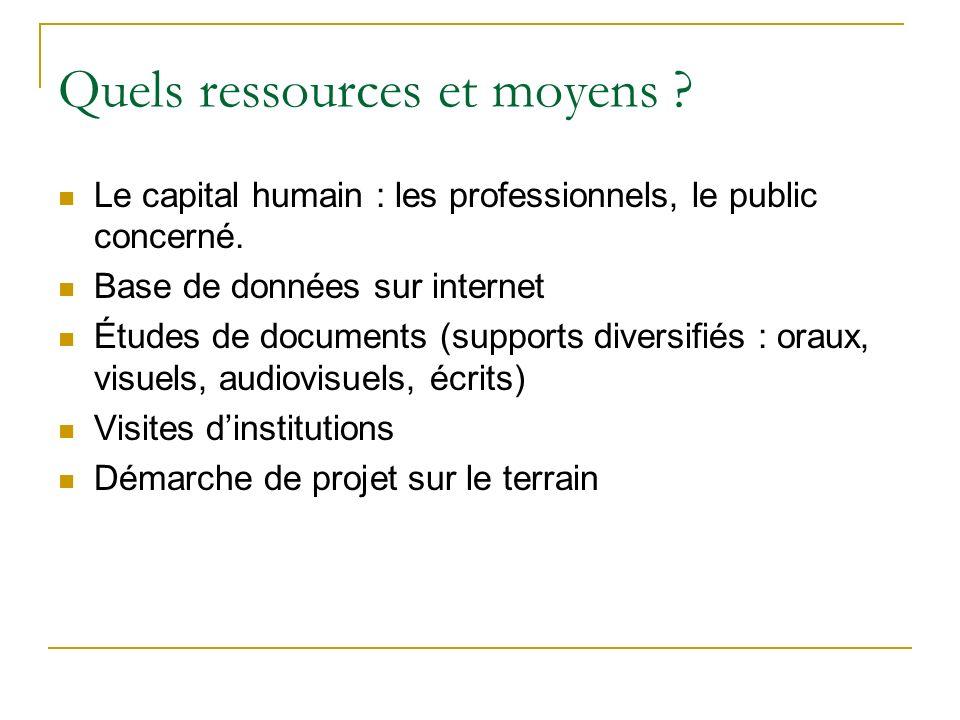 Quels ressources et moyens ? Le capital humain : les professionnels, le public concerné. Base de données sur internet Études de documents (supports di