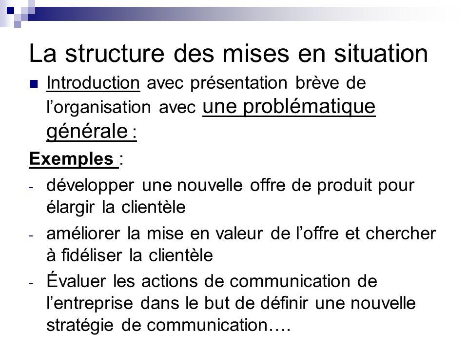 La structure des mises en situation Introduction avec présentation brève de lorganisation avec une problématique générale : Exemples : - développer un