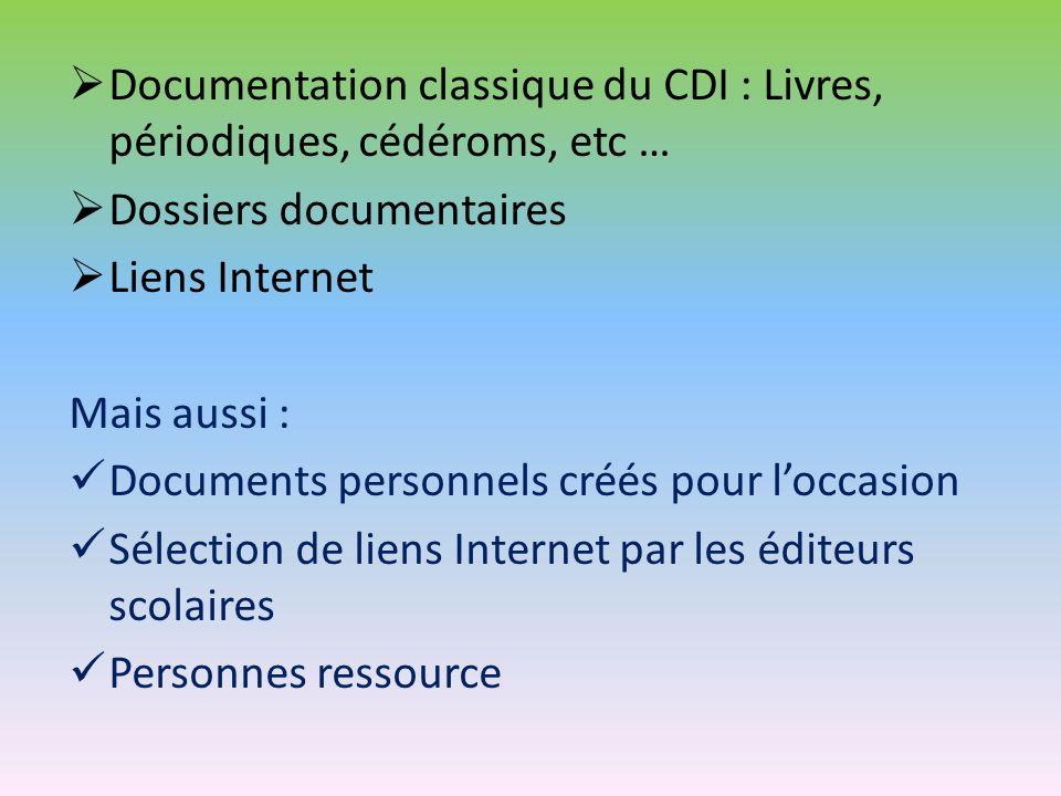 Documentation classique du CDI : Livres, périodiques, cédéroms, etc … Dossiers documentaires Liens Internet Mais aussi : Documents personnels créés po