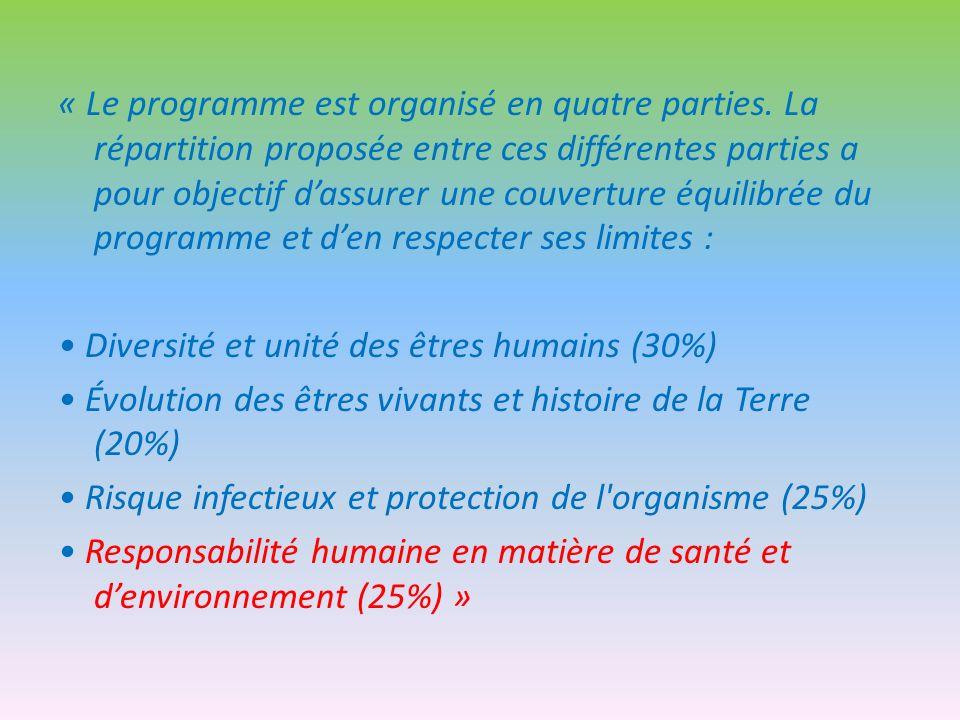 « Le programme est organisé en quatre parties. La répartition proposée entre ces différentes parties a pour objectif dassurer une couverture équilibré