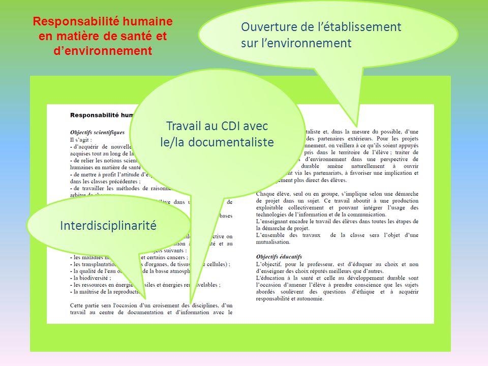 Interdisciplinarité Travail au CDI avec le/la documentaliste Ouverture de létablissement sur lenvironnement Responsabilité humaine en matière de santé