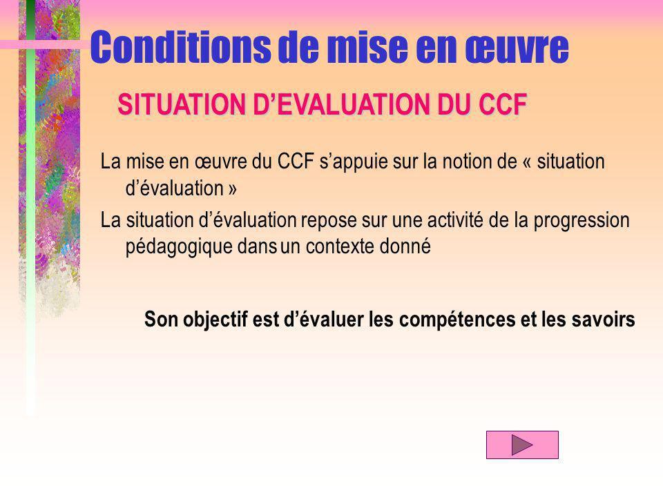 La mise en œuvre du CCF sappuie sur la notion de « situation dévaluation » La situation dévaluation repose sur une activité de la progression pédagogique dans un contexte donné Son objectif est dévaluer les compétences et les savoirs Conditions de mise en œuvre SITUATION DEVALUATION DU CCF