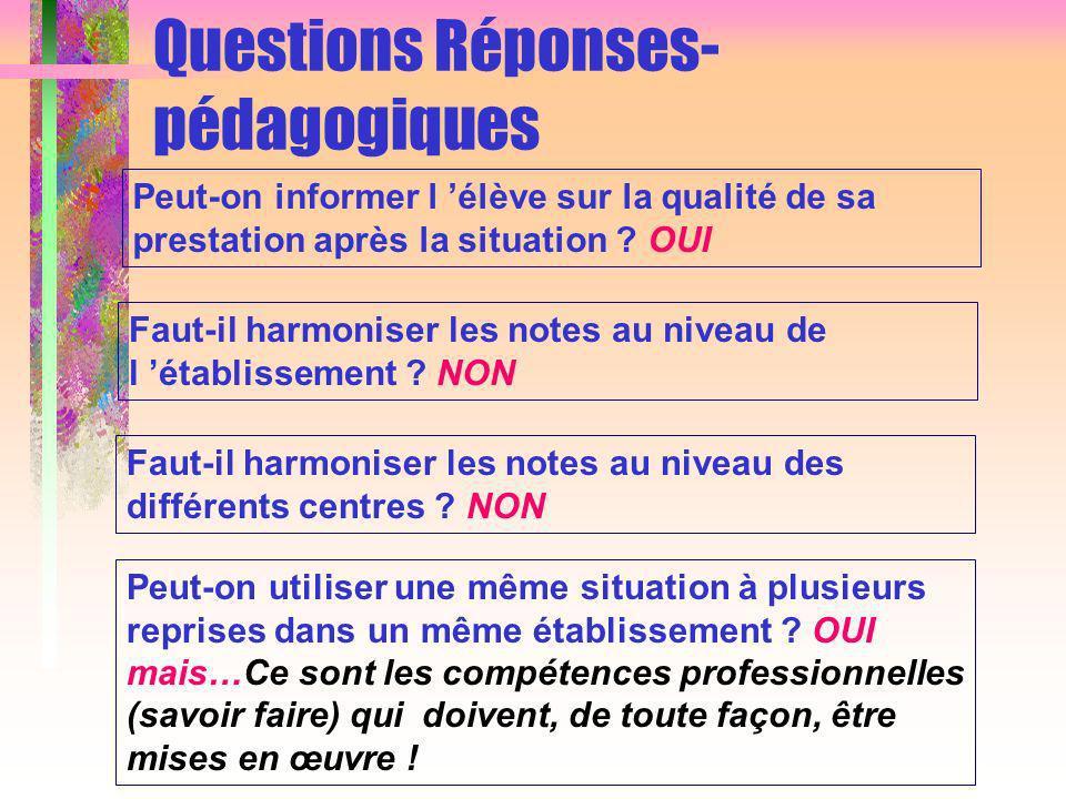 Questions Réponses- pédagogiques Peut-on informer l élève sur la qualité de sa prestation après la situation .