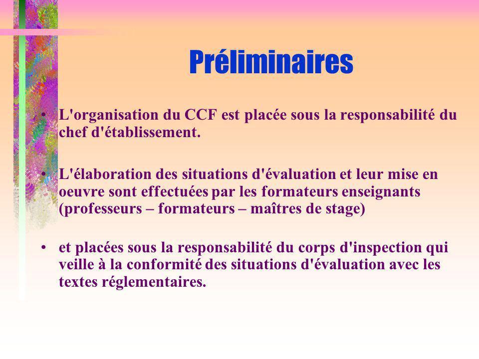 Préliminaires L organisation du CCF est placée sous la responsabilité du chef d établissement.
