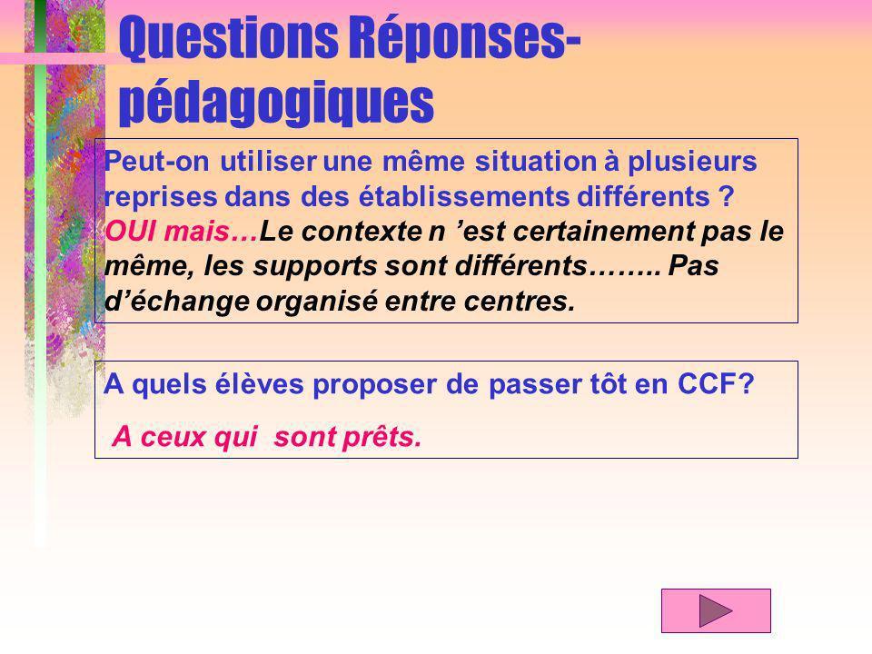 Questions Réponses- pédagogiques Peut-on utiliser une même situation à plusieurs reprises dans des établissements différents .