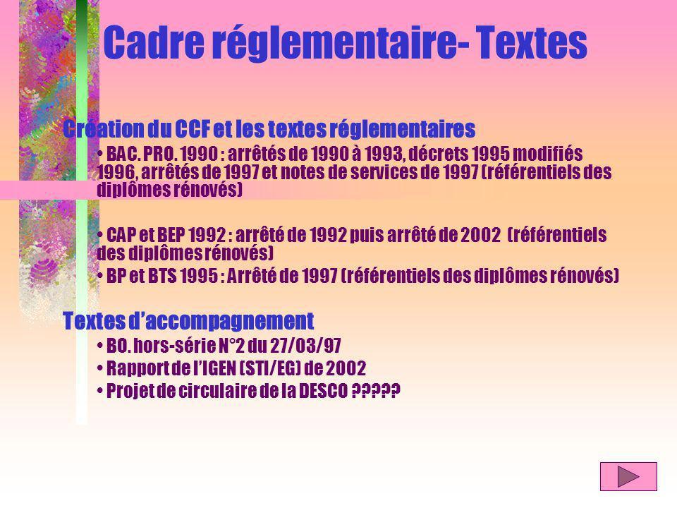Cadre réglementaire- Textes Création du CCF et les textes réglementaires BAC.