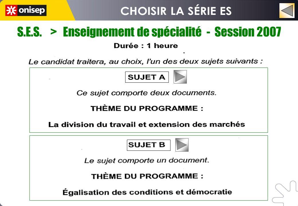 S.E.S. > Enseignement de spécialité - Session 2007