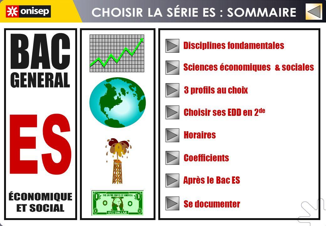 Disciplines fondamentales 3 profils au choix Horaires Coefficients Après le Bac ES Choisir ses EDD en 2 de Sciences économiques & sociales Se documenter