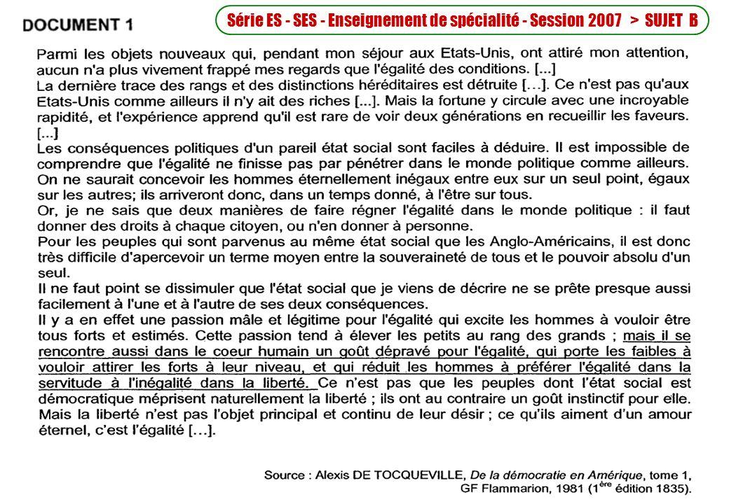Série ES - SES - Enseignement de spécialité - Session 2007 > SUJET B
