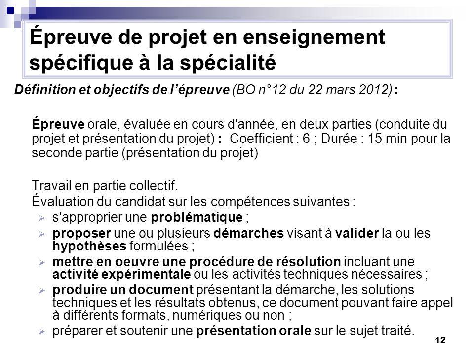 12 Définition et objectifs de lépreuve (BO n°12 du 22 mars 2012) : Épreuve orale, évaluée en cours d'année, en deux parties (conduite du projet et pré