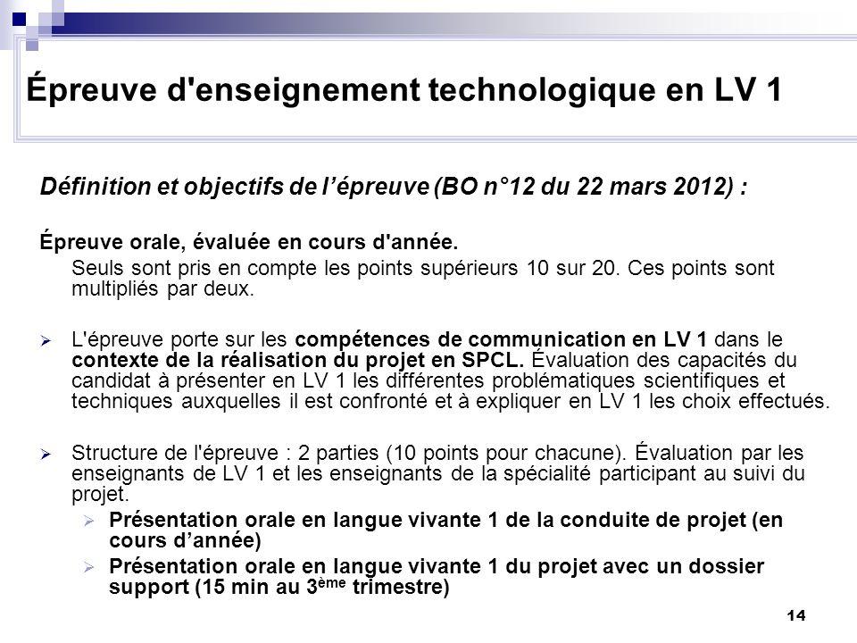 14 Définition et objectifs de lépreuve (BO n°12 du 22 mars 2012) : Épreuve orale, évaluée en cours d'année. Seuls sont pris en compte les points supér