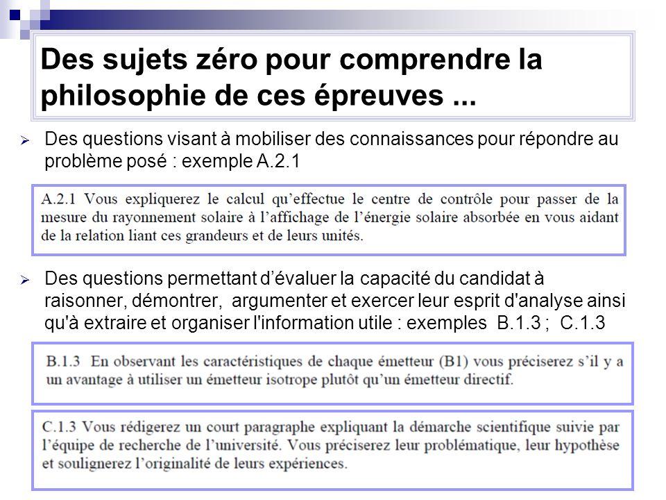 21 Des questions visant à mobiliser des connaissances pour répondre au problème posé : exemple A.2.1 Des questions permettant dévaluer la capacité du