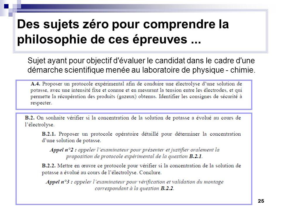 25 Sujet ayant pour objectif d'évaluer le candidat dans le cadre d'une démarche scientifique menée au laboratoire de physique - chimie. Des sujets zér