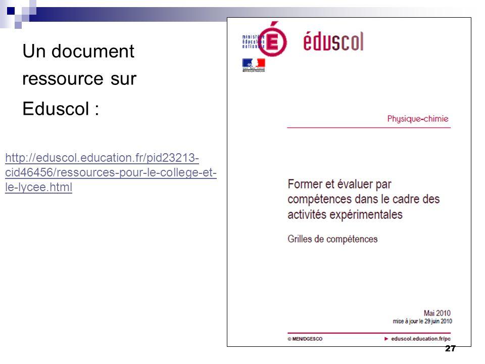 27 Un document ressource sur Eduscol : http://eduscol.education.fr/pid23213- cid46456/ressources-pour-le-college-et- le-lycee.html 27