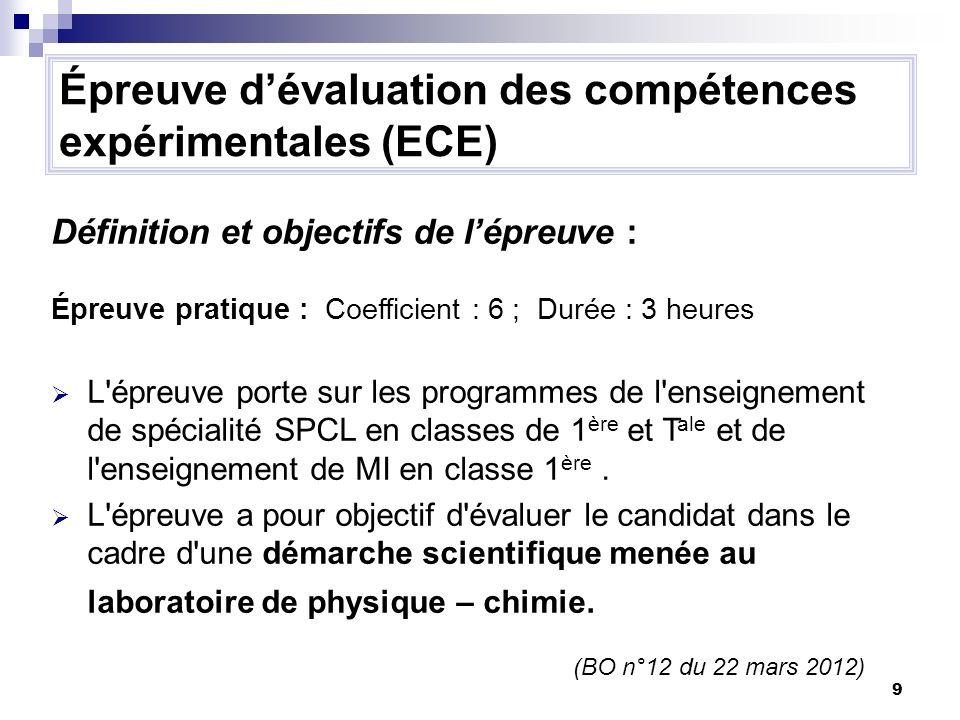9 Épreuve dévaluation des compétences expérimentales (ECE) Définition et objectifs de lépreuve : Épreuve pratique : Coefficient : 6 ; Durée : 3 heures