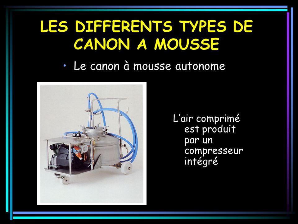 LES DIFFERENTS TYPES DE CANON A MOUSSE Le canon à mousse autonome Lair comprimé est produit par un compresseur intégré