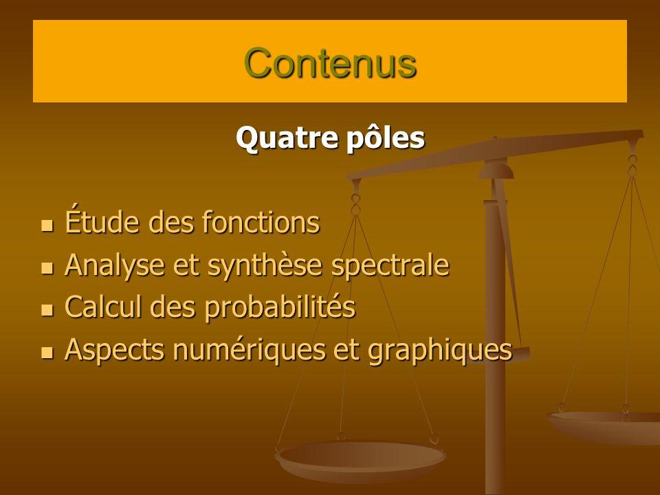 Contenus Quatre pôles Étude des fonctions Étude des fonctions Analyse et synthèse spectrale Analyse et synthèse spectrale Calcul des probabilités Calcul des probabilités Aspects numériques et graphiques Aspects numériques et graphiques