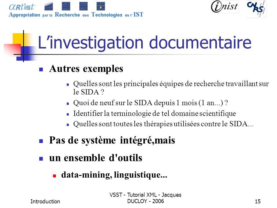 Introduction VSST - Tutorial XML - Jacques DUCLOY - 200615 Linvestigation documentaire Autres exemples Quelles sont les principales équipes de recherc