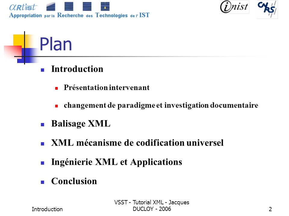 Introduction VSST - Tutorial XML - Jacques DUCLOY - 20063 Jacques DUCLOY http://dilib.inist.fr/~ducloy/index.html INIST Resp.
