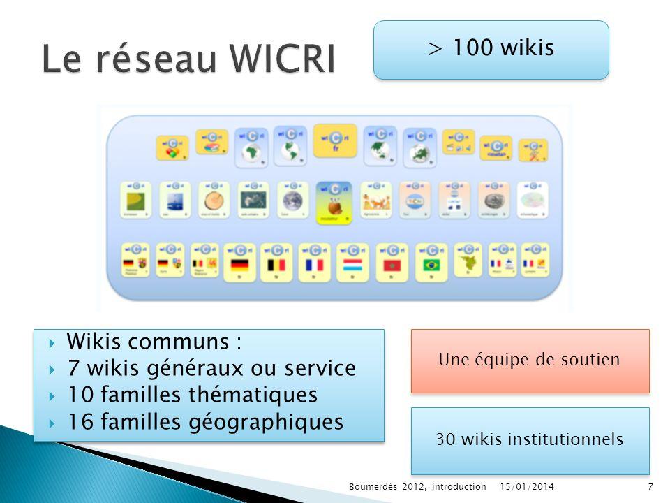 Wikis communs : 7 wikis généraux ou service 10 familles thématiques 16 familles géographiques Wikis communs : 7 wikis généraux ou service 10 familles