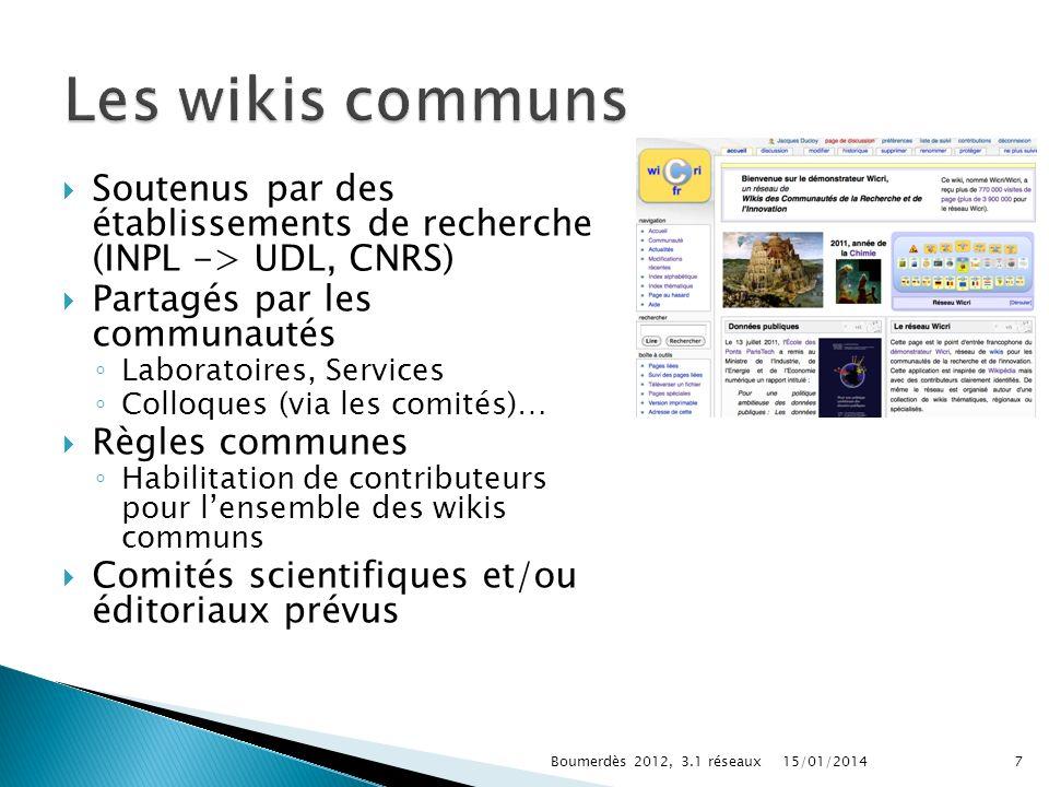 Soutenus par des établissements de recherche (INPL -> UDL, CNRS) Partagés par les communautés Laboratoires, Services Colloques (via les comités)… Règl