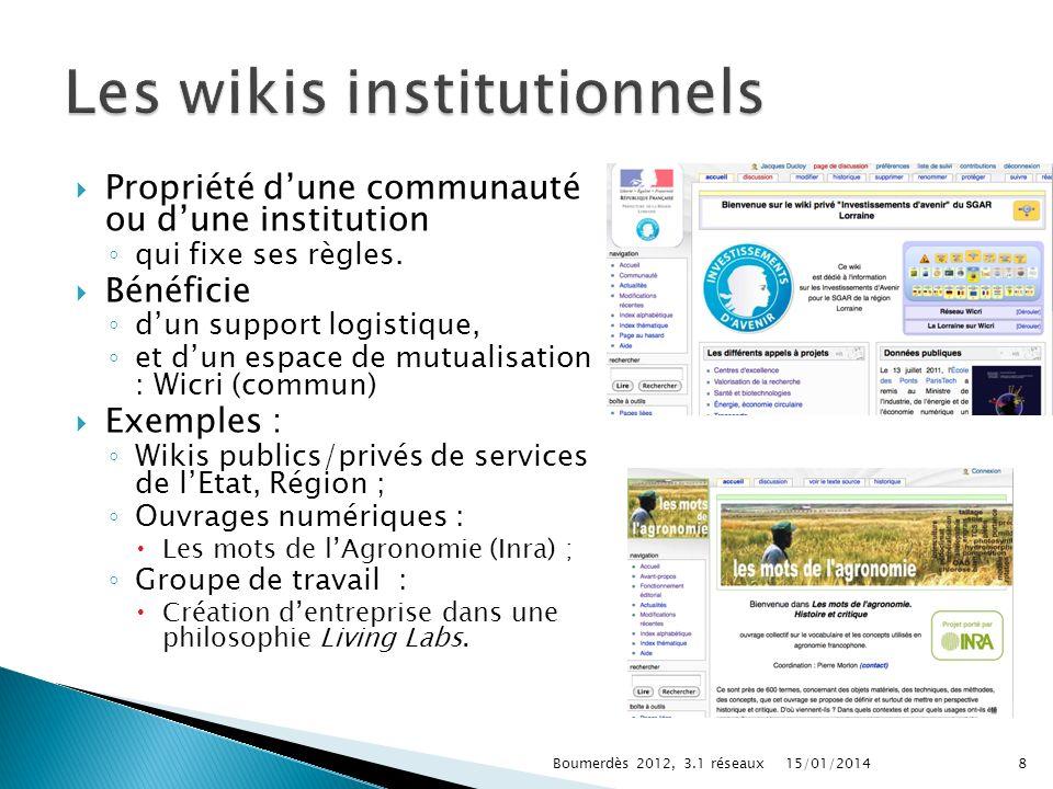 Propriété dune communauté ou dune institution qui fixe ses règles. Bénéficie dun support logistique, et dun espace de mutualisation : Wicri (commun) E