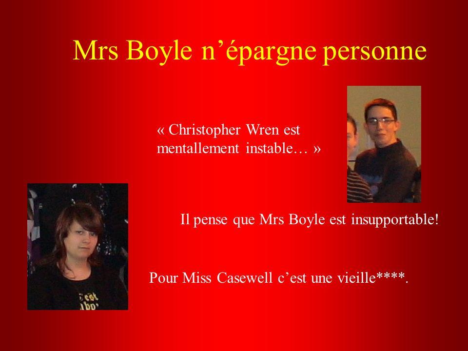 Mrs Boyle népargne personne « Christopher Wren est mentallement instable… » Il pense que Mrs Boyle est insupportable! Pour Miss Casewell cest une viei
