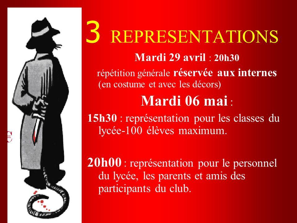 3 REPRESENTATIONS Mardi 29 avril : 20h30 répétition générale réservée aux internes (en costume et avec les décors) Mardi 06 mai : 15h30 : représentati