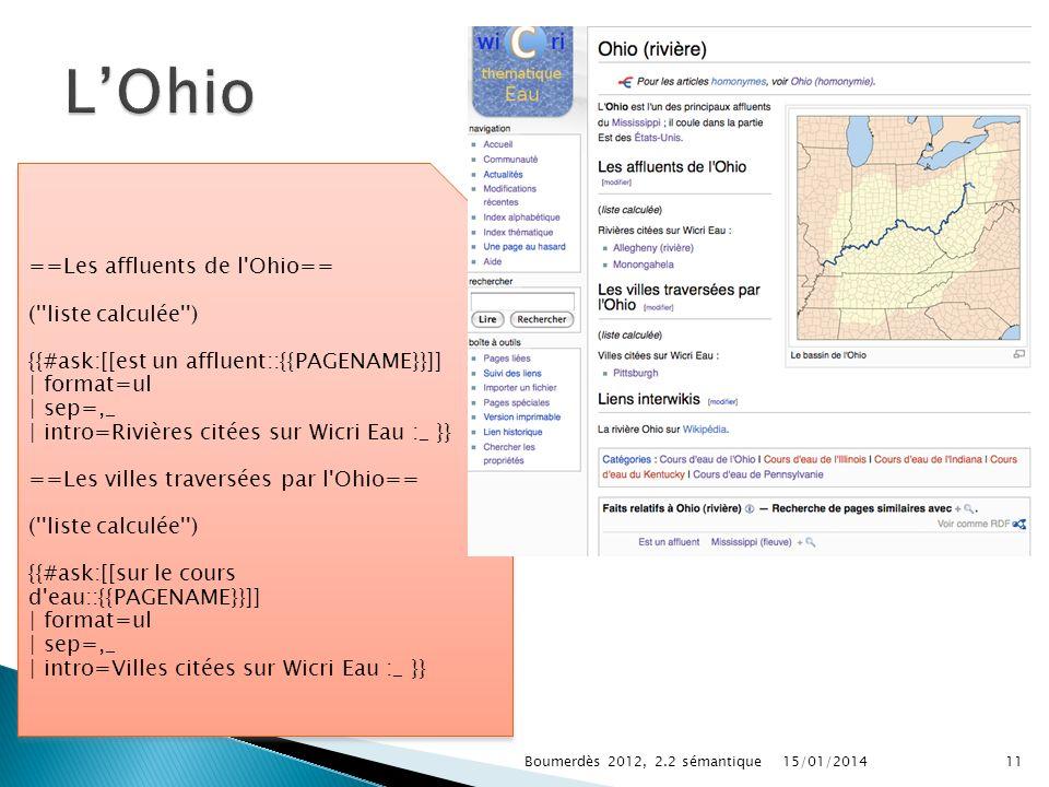 15/01/2014Boumerdès 2012, 2.2 sémantique11 ==Les affluents de l Ohio== ( liste calculée ) {{#ask:[[est un affluent::{{PAGENAME}}]] | format=ul | sep=,_ | intro=Rivières citées sur Wicri Eau :_ }} ==Les villes traversées par l Ohio== ( liste calculée ) {{#ask:[[sur le cours d eau::{{PAGENAME}}]] | format=ul | sep=,_ | intro=Villes citées sur Wicri Eau :_ }} ==Les affluents de l Ohio== ( liste calculée ) {{#ask:[[est un affluent::{{PAGENAME}}]] | format=ul | sep=,_ | intro=Rivières citées sur Wicri Eau :_ }} ==Les villes traversées par l Ohio== ( liste calculée ) {{#ask:[[sur le cours d eau::{{PAGENAME}}]] | format=ul | sep=,_ | intro=Villes citées sur Wicri Eau :_ }}