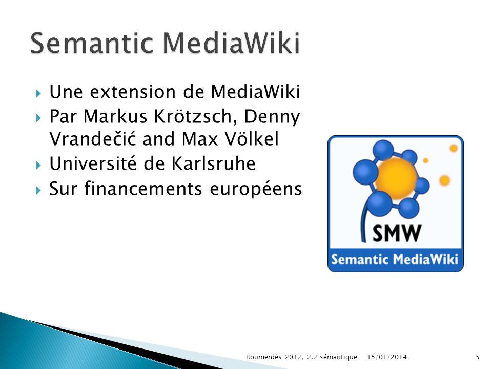 Une extension de MediaWiki Par Markus Krötzsch, Denny Vrandečić and Max Völkel Université de Karlsruhe Sur financements européens 15/01/2014Boumerdès 2012, 2.2 sémantique5