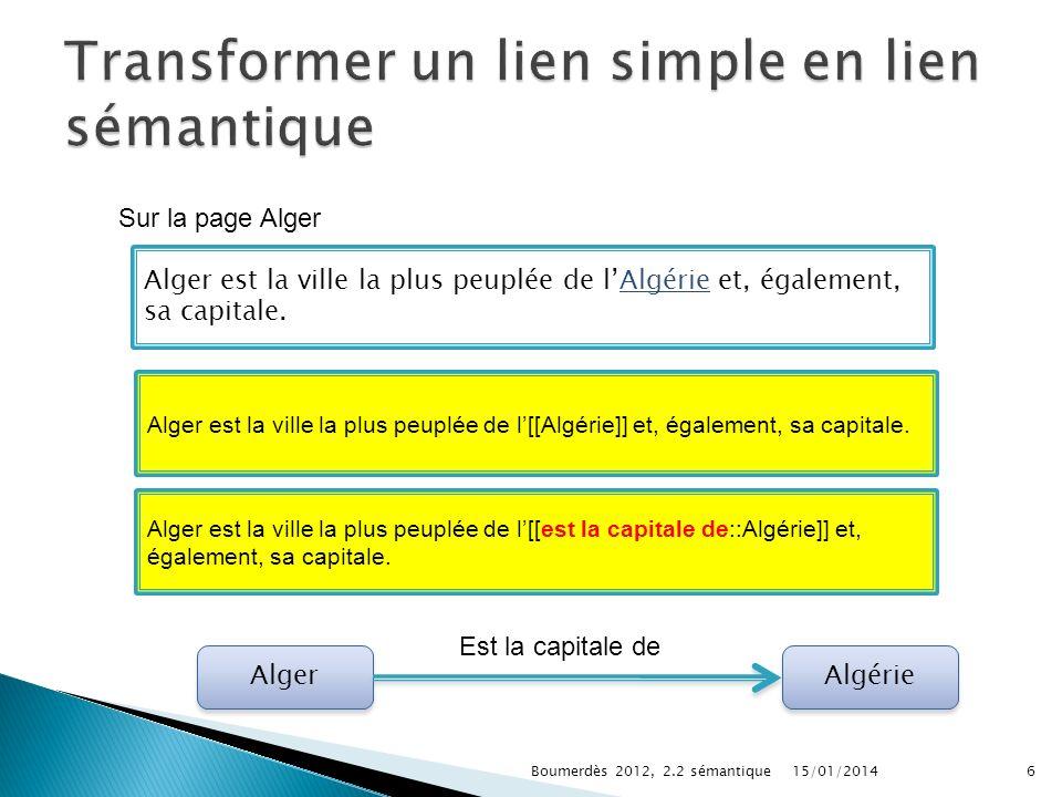 15/01/2014Boumerdès 2012, 2.2 sémantique6 Alger est la ville la plus peuplée de lAlgérie et, également, sa capitale.