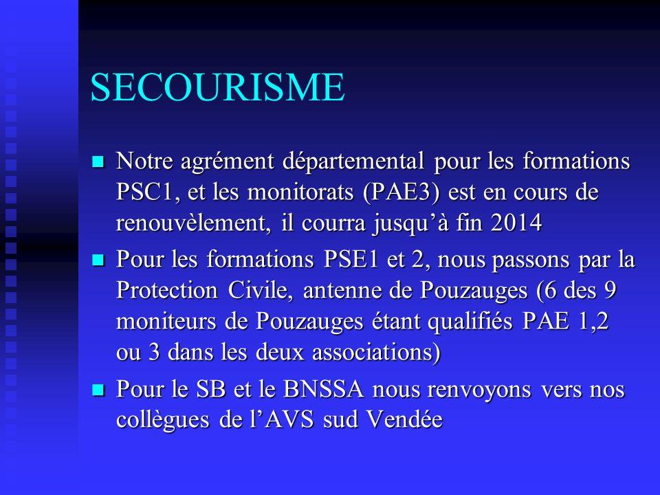 SECOURISME Notre agrément départemental pour les formations PSC1, et les monitorats (PAE3) est en cours de renouvèlement, il courra jusquà fin 2014 No