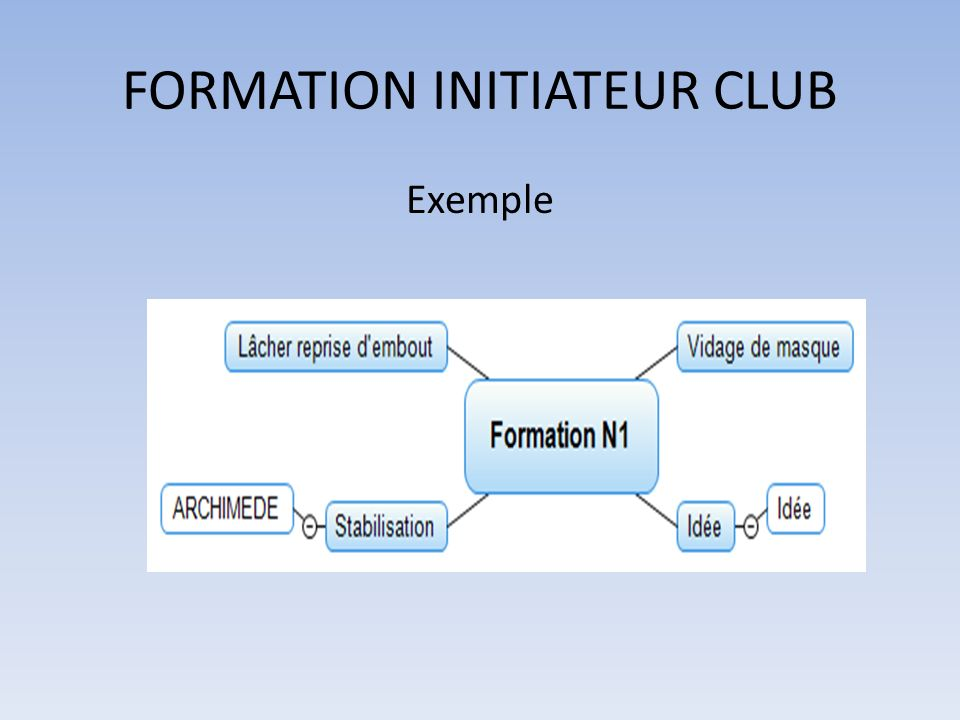 FORMATION INITIATEUR CLUB Exemple