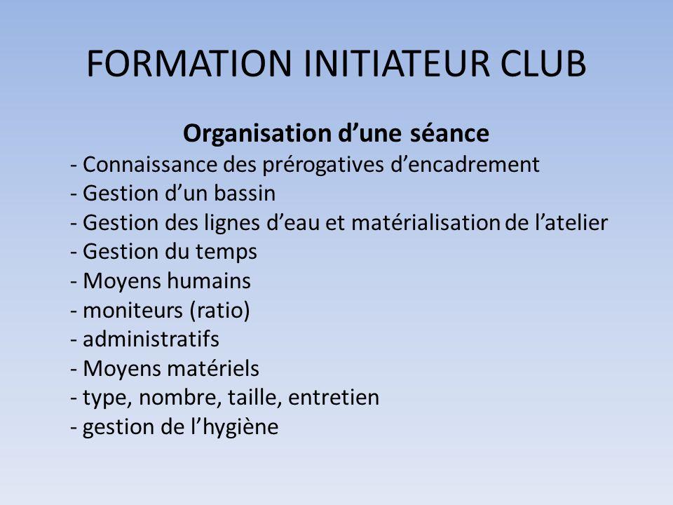 FORMATION INITIATEUR CLUB Organisation dune séance - Connaissance des prérogatives dencadrement - Gestion dun bassin - Gestion des lignes deau et maté