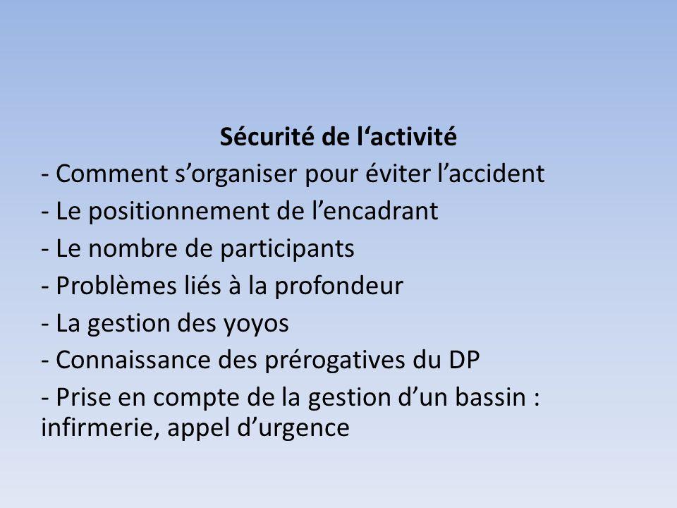 Sécurité de lactivité - Comment sorganiser pour éviter laccident - Le positionnement de lencadrant - Le nombre de participants - Problèmes liés à la p