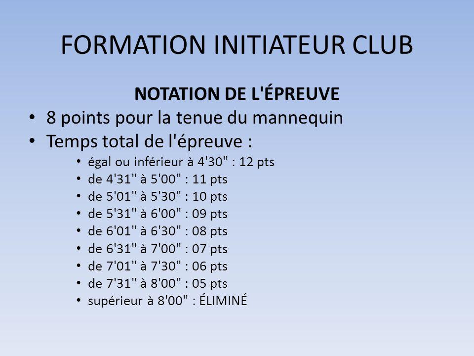 FORMATION INITIATEUR CLUB NOTATION DE L'ÉPREUVE 8 points pour la tenue du mannequin Temps total de l'épreuve : égal ou inférieur à 4'30