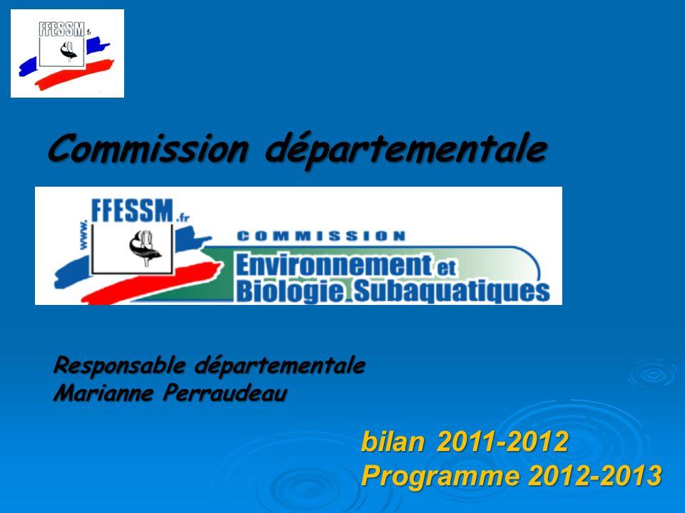 Commission départementale Responsable départementale Marianne Perraudeau bilan 2011-2012 Programme 2012-2013